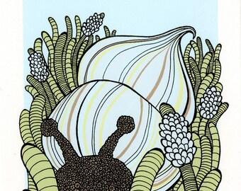 Nursery Snail Art Print- Yellow 5x7