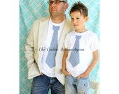 Set of 2 Father and Son Matching Set. 1 Tie Tshirts for Daddy and 1 for Baby Boy.  Holiday Picture, Gift Set. Dad Tie Tee. Christmas Outfit