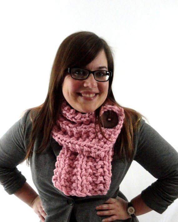 Light Pink Chunky Knit Cowl Scarf with Large Brown Button