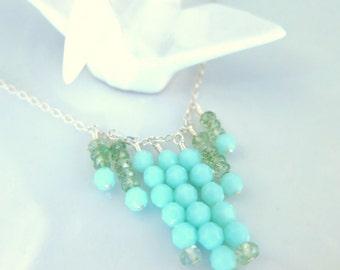 Mint green fringe sterling silver necklace, green abstract fringe gypsy style silver necklace, St Patrick's day mint green tassle necklace