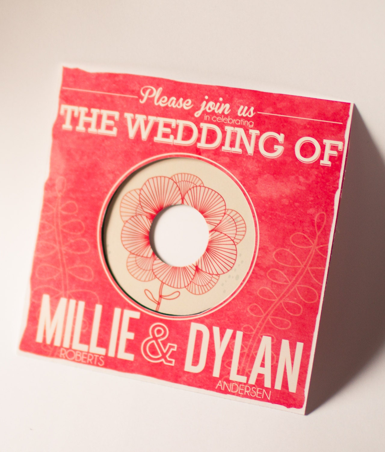 Floral vintage music record wedding invitation for Etsy vinyl wedding invitations