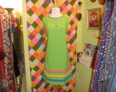 60s mod lime green cotton fringe shift dress 1960s colorful kitschy striped mini dress size medium