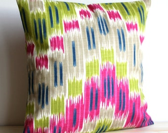 Cerise and Green Ikat Pillow Sham - 16 x 16 Ikat Cushion Cover Pillow Cover - Ikat Zigzag Cerise