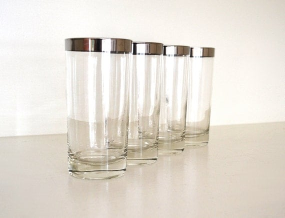 Vintage Silver Rim Drinking Glasses, Highball Tumblers, Set of 4, Metal Rimmed Band, Mad Men Style Glassware