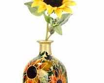 "Hand Painted Glass ""Patron"" bottle Sunflower design Summer  Home Decor - Decorative Glass Art"