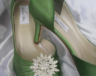Wedding Shoes Apple Green Wedding Shoes with Rhinestone Flower Burst Additional 100 Colors To Pick From