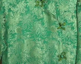 1950s Green Chinese Vamp Dress