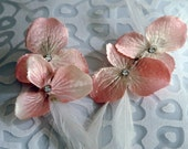 Opalescent Pink Hydrangea Flowers, Fanciful White Feathers, Crystal Elements / Set of 2 Hair Clips, Hair Grad Wedding Accessory - ROSINA -