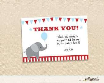 Circus Birthday Thank you cards set of 12
