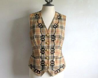 1980s ESCADA Embroidered Vest Vintage 80s Margaretha Ley Dapper Beige Plaid Wool Dress Vest 34