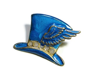 Steampunk Top Hat Brooch Pin in Blue with Wing Hand Made Enamel by Dr Brassy Steampunk