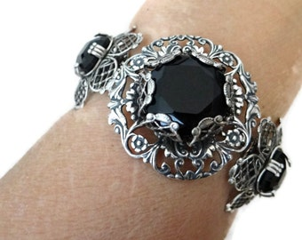 Steampunk Bracelet Art Deco Nouveau Sterling Silver over Brass Bracelet with Jet Black Glass and gears by Dr Brassy Steampunk