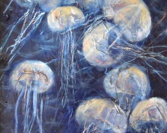 "Jellyfish Painting Print - Sea Life Wall Decor - Indigo Blue Ocean Art - Art Print of Original Painting 8x8"" ""Surrounded"""