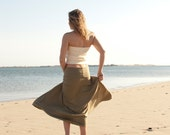 Maxi Foldover/Yoga Skirt in Olive Organic CottonRib Knit or Coral, Black, Olive Bamboo Jersey Knit - Made to Order