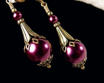 Burgundy Red Wine Victorian Earrings, Purple Crystal Pearl Drops, Antiqued Brass Filigree, Titanic Temptations Vintage Bridal Style Jewelry