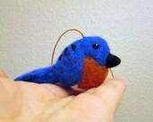 Felted Bluebird Ornament - Needle Felted Bird - Christmas