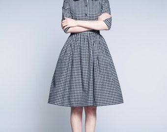 Black and white dress 50s inspired dress Gingham dress 50s Gingham dress Button up 50s dress Knee length dress Custom made dress