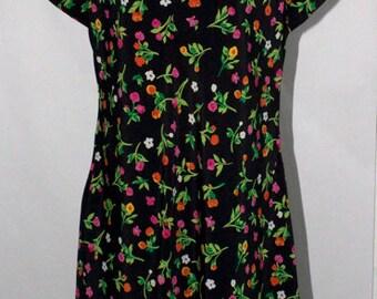 Vintage 1990s Grunge Dress - Black & Floral  - Double Tier Trumpet Skirt - Perfect Condition