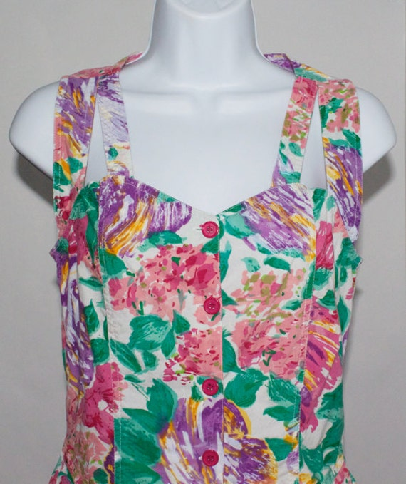 Colorful Vintage 1980s Romper - Art Print, Floral - Sweetheart Neckline with Cutouts - Perfect Condition
