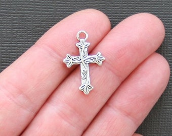 10 Cross Charms Antique  Silver Tone - SC2275