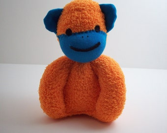 Child safe sock monkey stuffed toy for newborn babies and toddlers in orange and blue, sock monkey nursery, baby shower gift
