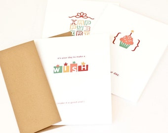 Birthday Card Set, Minimalist Birthday Cards // CONTEMPORARY WISHES