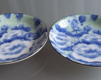 Shallow Serving Bowls, Vintage Home Decor, Blue, Green, White