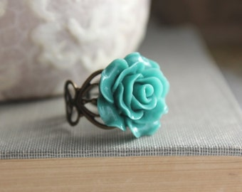 Teal Rose Ring Blue Resin Rose Flower Cocktail Ring Antique Brass Lace Filigree Adjustable Ring Bridal Jewelry Bridesmaids Accessories