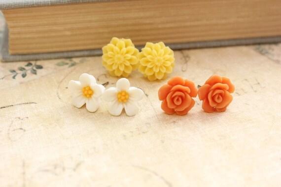 Flower Earrings Surgical Steel Post Stud Earrings Yellow Chrysanthemum Dahlia Orange Rose White Daisy Spring Bright Floral Nickel Free