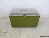 Clear and Green  Sewing Box (or jewelry box)