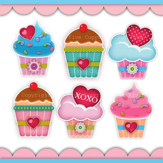 Digital Clip art Cupcakes with Love. Cute kitchen clipart