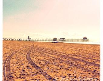 Beach Scene Square Photo - HB Mood - California Beach Photography, Beach Decor, Beach House, Huntington Beach Pier Photo, Surf City