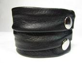 Black Leather Cuff Wrap Bracelet Mens Ladies Soft Italian Leather Wristband