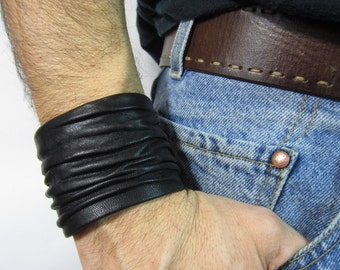 Mens Black  Leather Cuff Bracelets Wristbands Crushed Sculpted Italian Leather  Men/ Women