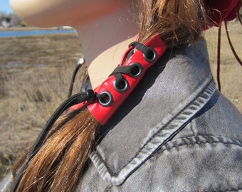 Leather Corset Hair Wraps Ties Red Black Beaded Ponytail Holder Hair Jewelry Extensions  Z103