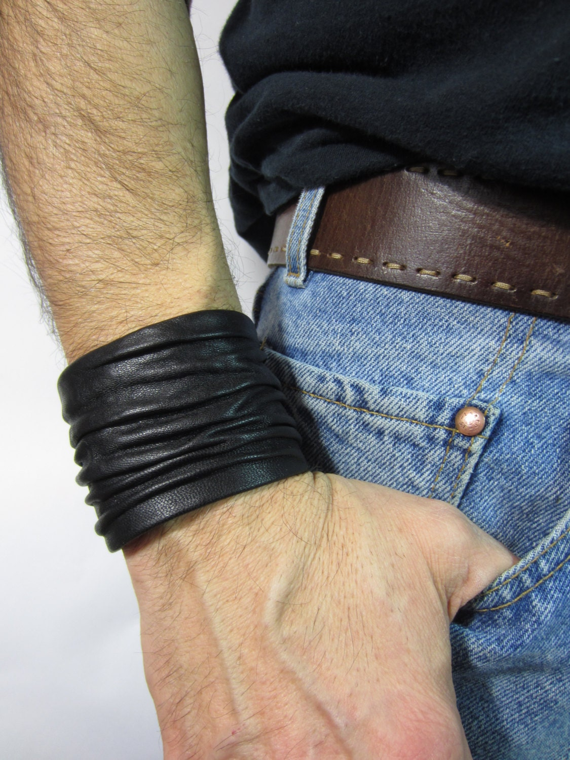 Mens Black Leather Cuff Bracelets Wristbands Crushed Sculpted