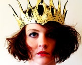 Crown Headpiece - Gold Leather crown - fairy queen - handmade by lovemimo on Etsy