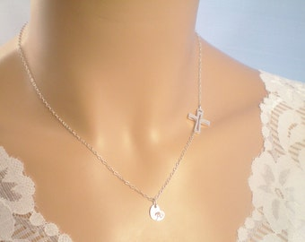 1 Personalized Sideways Cross Fine Chain Necklace, Sterling Silver Initials, Sterling Silver Sideways Cross Necklace
