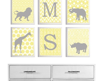 Ikat Safari Wall Art Girl Boy Nursery Neutral Personalized Letter Initial set of 6 each size 11x14