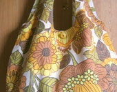 Reversible retro vintage boho bag, Flower power  - 50s barkcloth - fully reversible, 2 styles