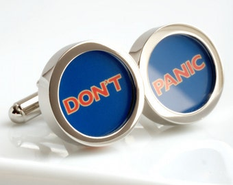 Don't Panic Cufflinks - Great Advice Inspired by Hitch Hiker's Guide to the Galaxy PC532