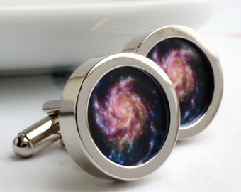 Rainbow Pinwheel Cufflinks - the Galaxy on Your Sleeve PC531