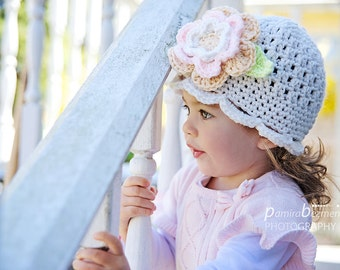 Toddler Girls Hats, Crochet Girl Hat, Toddler Crochet Hat, Neutral Colors Girl Hat with Flower, Soft Colors Girl Hat, Spring Toddler Hat