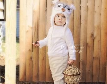 Newborn Crochet Owl Hat, Baby Owl Hat, Snow White Fuzzy Owl Hat, Crochet hat for Baby, Newborn Photo Prop
