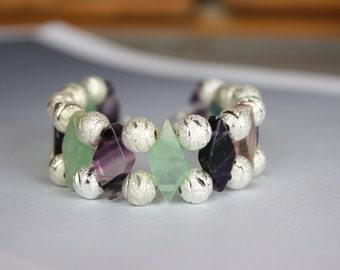 Flourite and Brass Silver beads Double Strand Bracelet with sterling silver clasp purple green