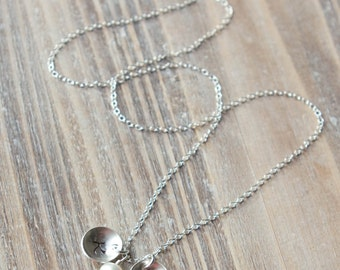 Sterling Silver Initial Necklace - Handstamped Circles - Freshwater Pearl or Birthstone - Mom Necklace - Twins Necklace