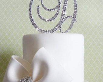Monogram cake toppers - Swarovski crystal cake topper