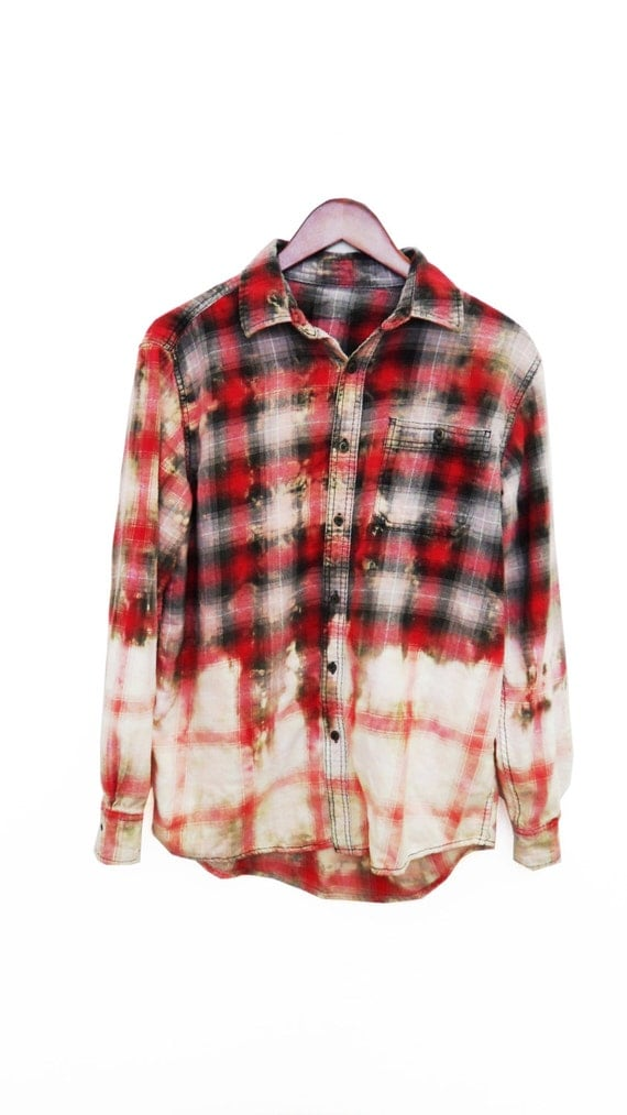 Grunge Flannel Shirt Bleached Refashioned Upcycled