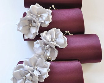 Set of 8-Small Bridesmaid clutches / Wedding clutches - CUSTOM COLOR