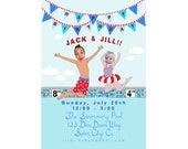 Boy and Girl Sibling  Pool Party Invitation -  Printable and Personalized